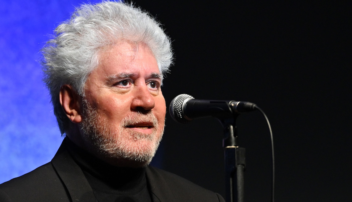 """Writer/director Pedro Almodóvar introduces """"Pain and Glory"""" during the 57th New York Film Festival at Alice Tully Hall, Lincoln Center on September 28, 2019 in New York City."""