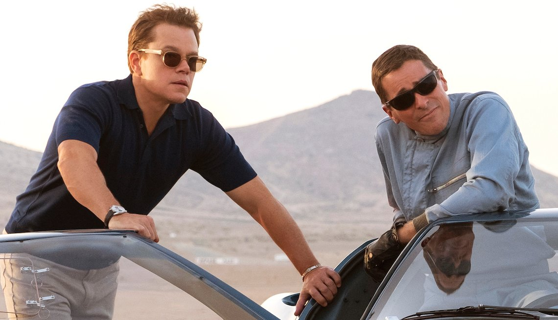 Matt Damon and Christian Bale on the set of Twentieth Century Fox's FORD V FERRARI.