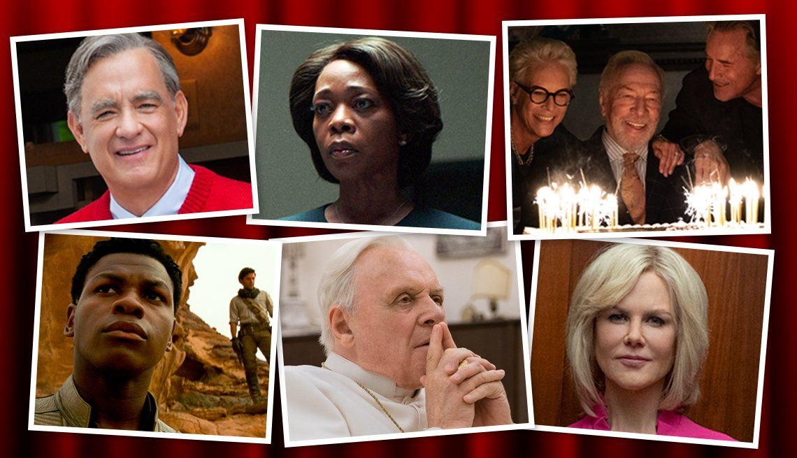(Clockwaise from top l): Tom Hanks, Alfre Woodard, Jamie Lee Curtis, Don Johnson, John Boyega, Anthony Hopkins, Nicole Kidman