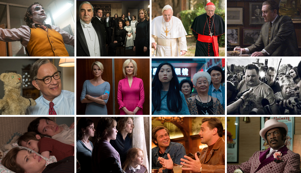 Escenas de Joker, Downton Abbey, The Two Popes, The Irishman, A Beautiful Day in the Neighborhood, The Farewell, Richard Jewell, Marriage Story, Little Women, Once Upon a Time in Hollywood y My Name is Dolemite