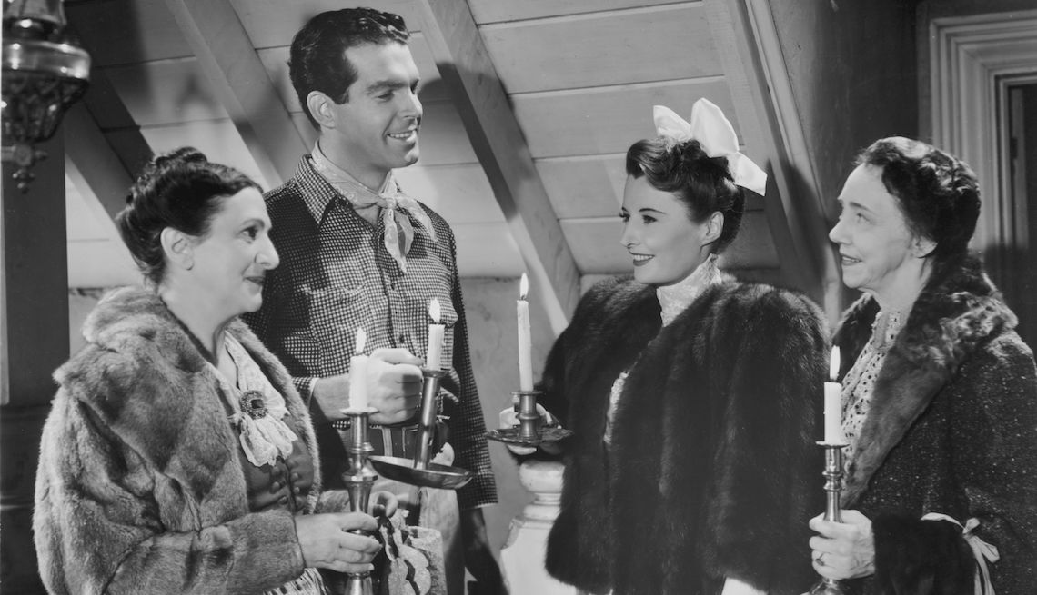 item 6 of Gallery image - 1940:  American actors Beulah Bondi (1889-1981), Fred MacMurray (1908-1991), Barbara Stanwyck (1907-1990) and Elizabeth Patterson (1876-1966) in a scene from the film 'Remember The Night', directed by Mitchell Leisen for Paramount.