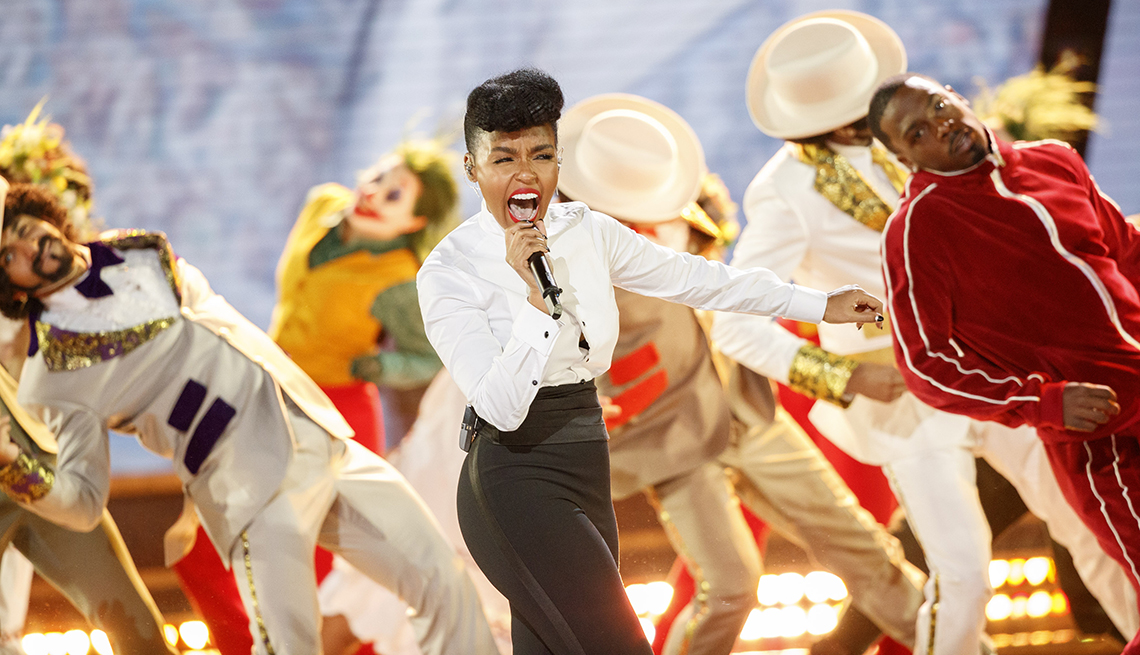 Janelle Monáe performing at the 92nd Annual Academy Awards