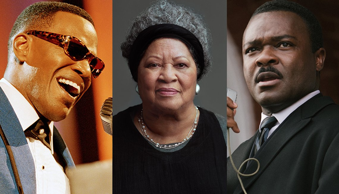 Jamie Foxx as Ray Charles in Ray David Oyelowo as Martin Luther King Junior in Selma and Toni Morrison from the documentary Toni Morrison The Pieces I Am