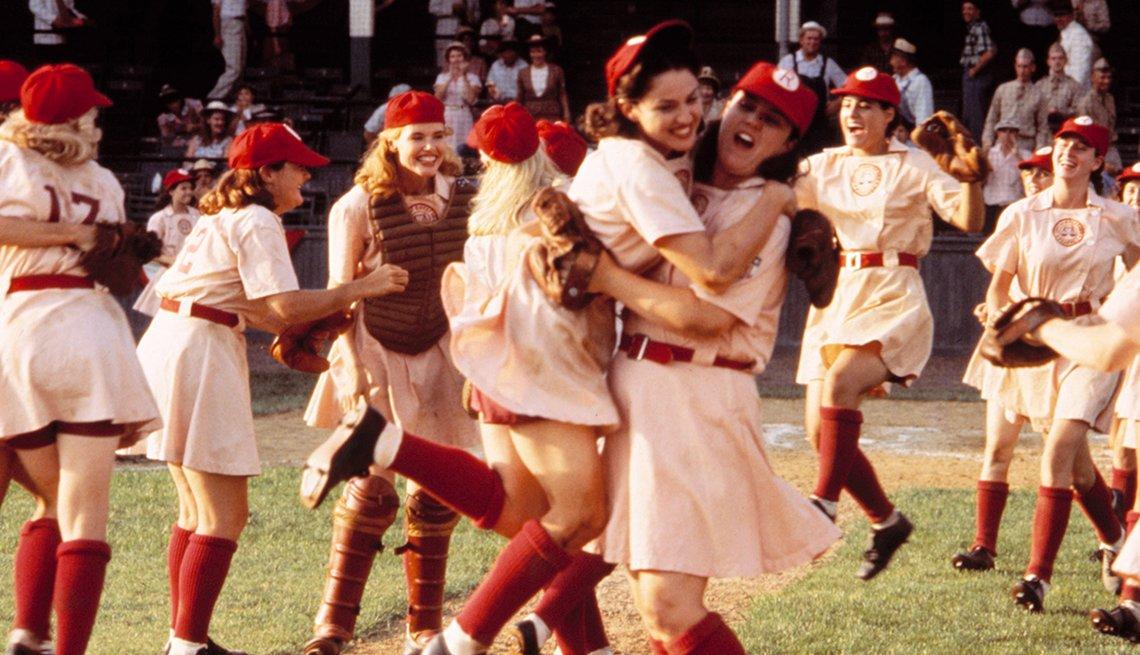 Geena Davis Madonna y Rosie O Donnell en una escena A League of Their Own.