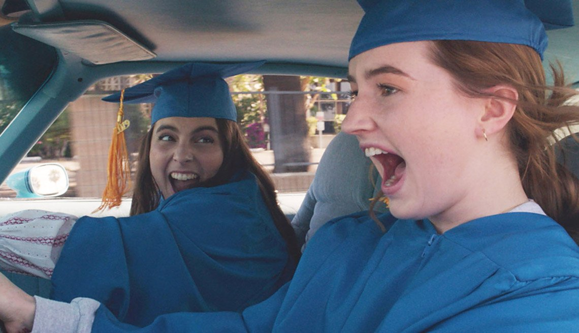 Beanie Feldstein and Kaitlyn Dever star in the film Booksmart
