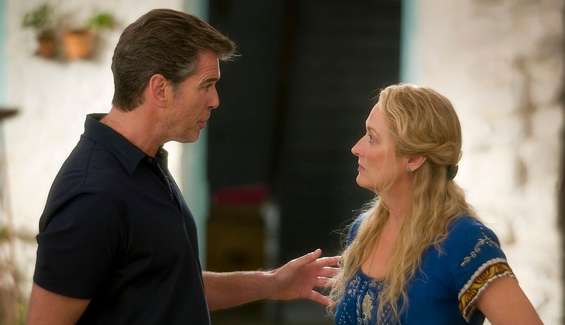 Pierce Brosnan as Sam Carmichael and Meryl Streep as Donna Sheridan in the musical romantic comedy Mamma Mia