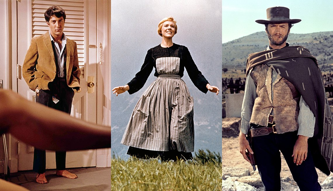 Side by side photos of Dustin Hoffman in The Graduate, Julie Andrews in The Sound of Music and Clint Eastwood in The Good The Bad and the Ugly