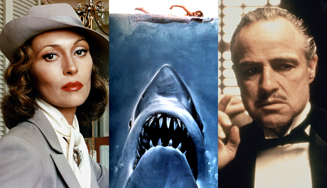 Side by side images of Faye Dunaway key artwork from the film Jaws and Marlon Brando in The Godfather