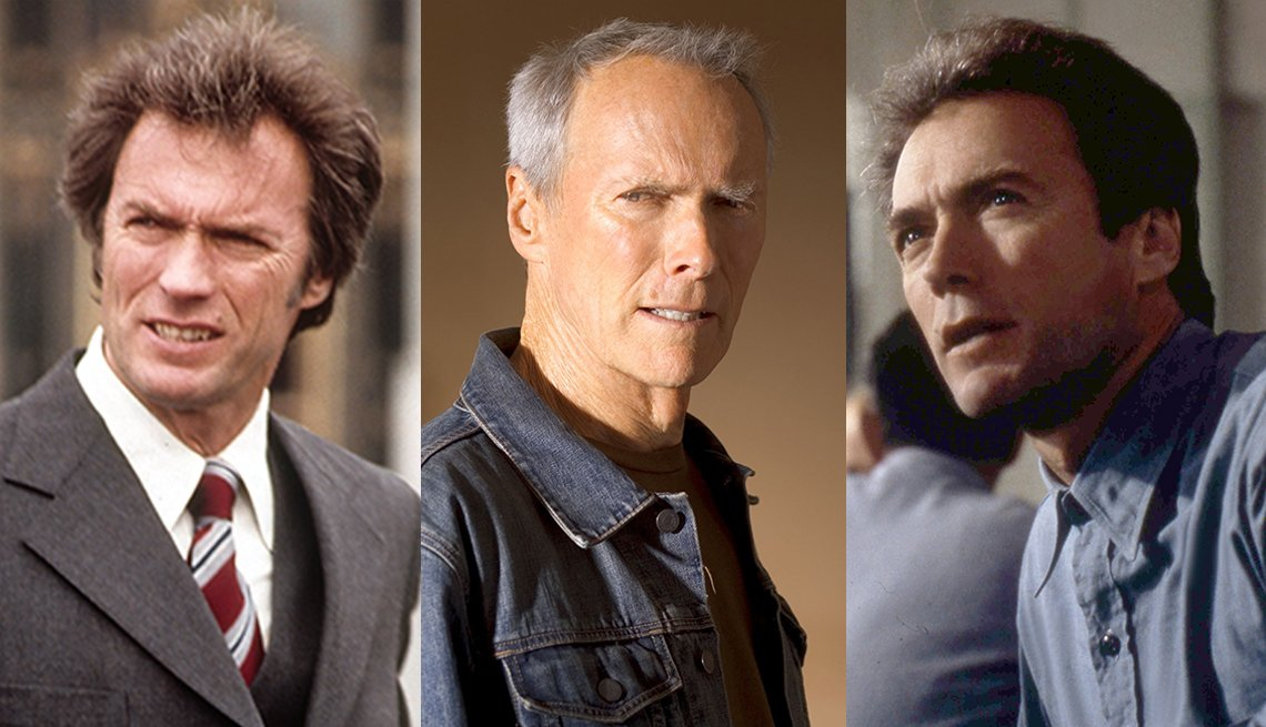 Side by side images of Clint Eastwood in the films Dirty Harry Million Dollar Baby and Escape From Alcatraz