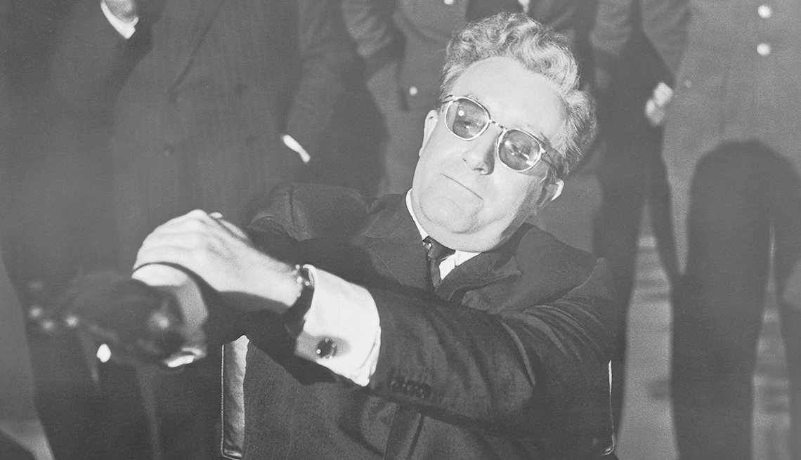 Peter Sellers in the film Doctor Strangelove or How I Stopped Worrying and Learned to Love the Bomb