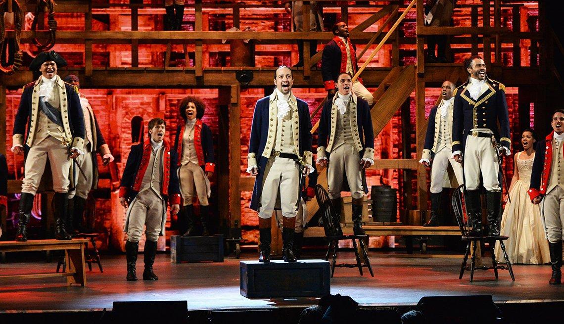 Lin-Manuel Miranda and the cast of Hamilton perform at the 70th Annual Tony Awards