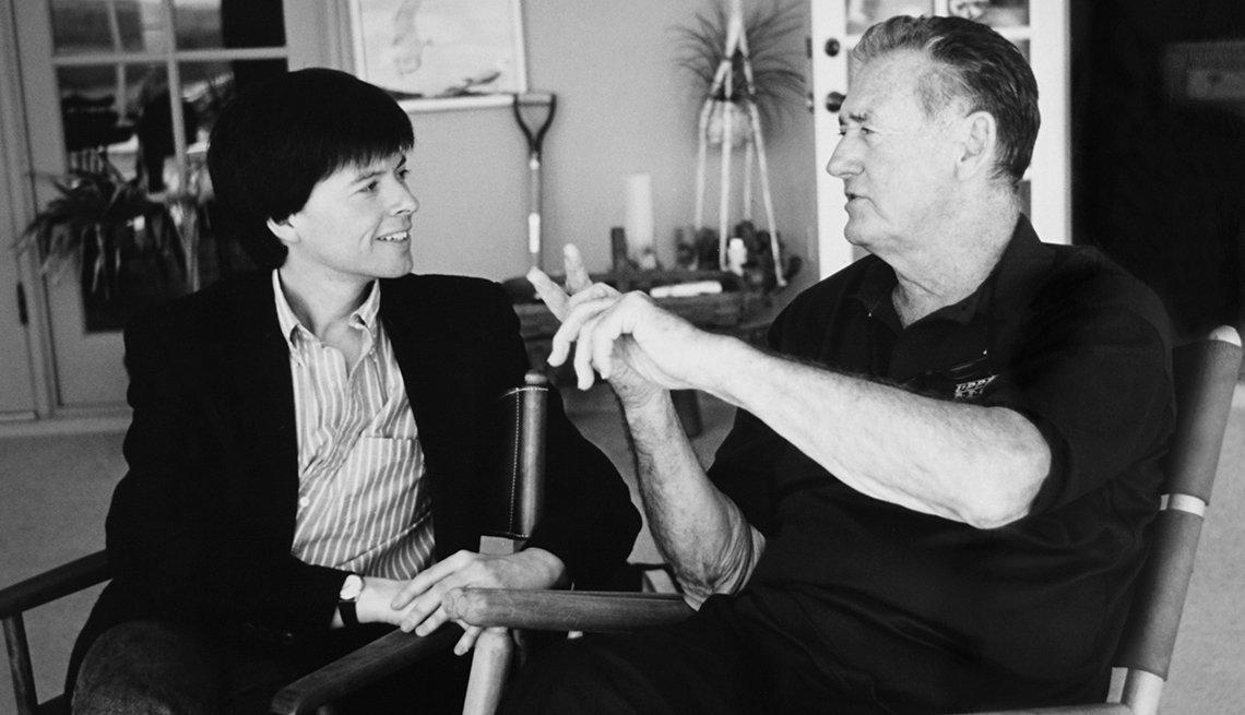 Ken Burns talking to Ted Williams