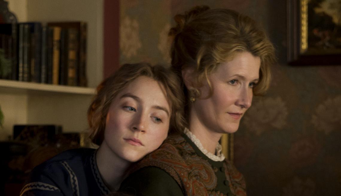 Saoirse Ronan places her head on Laura Dern's shoulder in Little Women