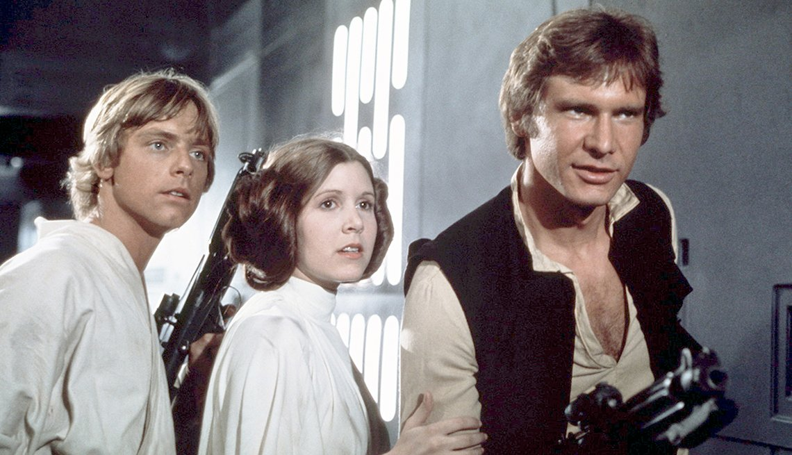 Mark hamill Carrie Fisher and Harrison Ford in a scene from Star Wars Episode 4 A New Hope