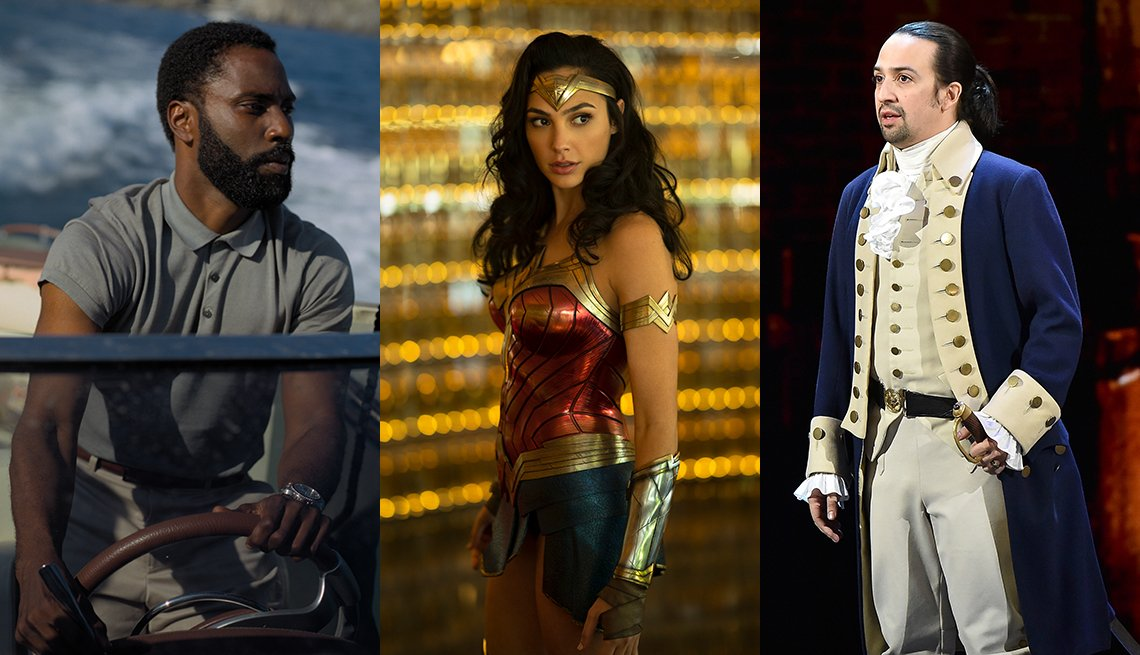 John David Washington en Tenet,  Gal Gadot en Wonder Woman, y Lin Manuel Miranda en Hamilton.