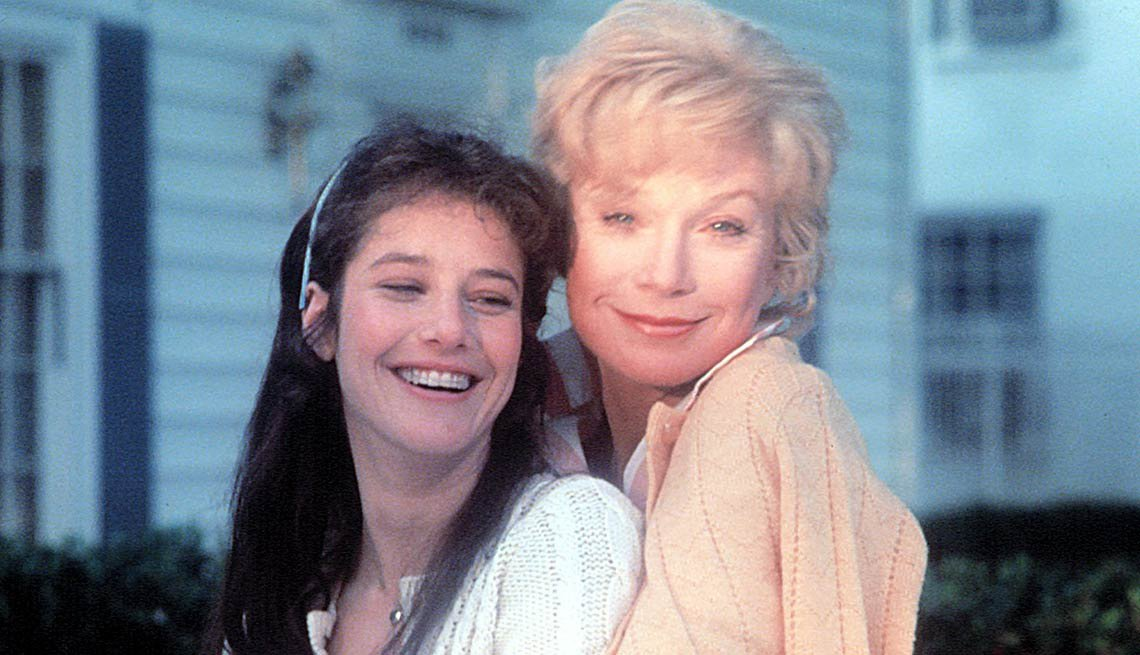 Shirley MacLaine hugs Debra Winger in a photo for the film Terms of Endearment