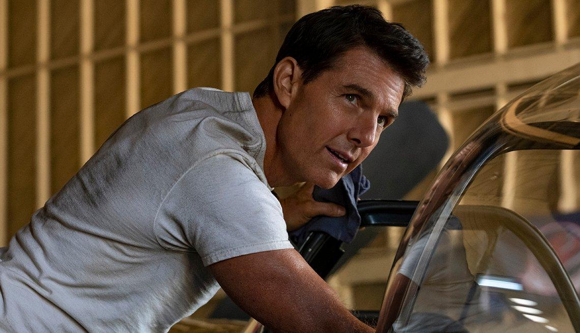Tom Cruise stars as Captain Pete Maverick in the film Top Gun Maverick
