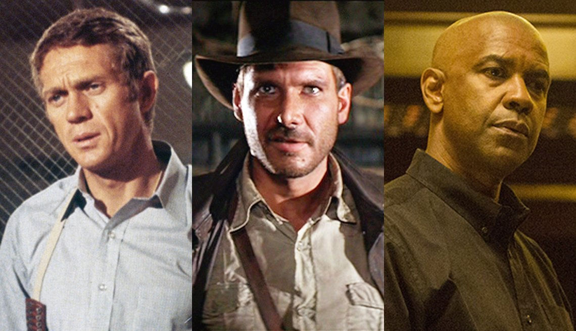 Steve McQueen in Bullitt Denzel Washington in The Equalizer and Harrison Ford in Raiders of the Lost Ark