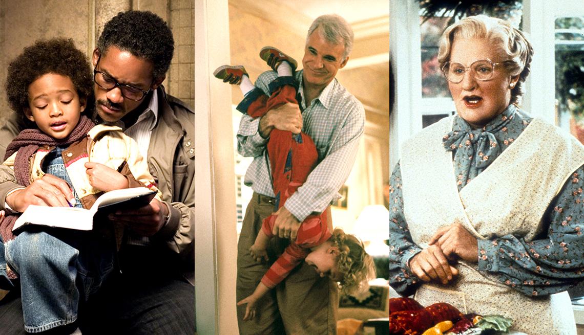 Will Smith y su hijo Jaden en The Pursuit of Happyness, Steve Martin en Parenthood y Robin Williams en Mrs Doubtfire.