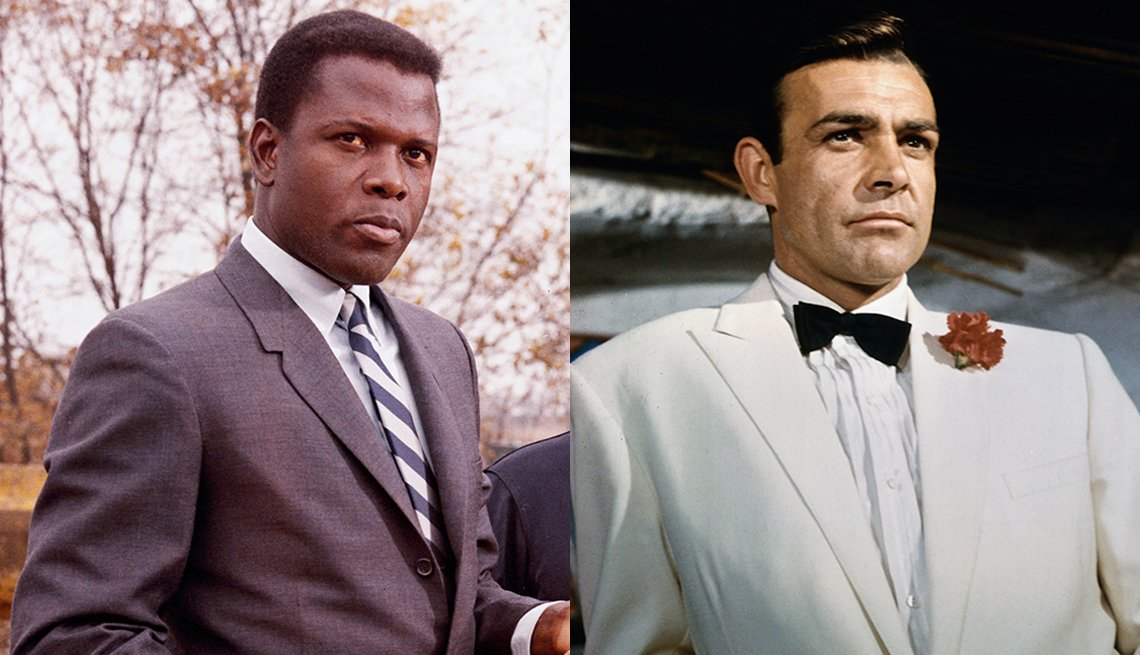 Sidney Poitier as Virgil Tibbs in the movie In the Heat of the Night and Sean Connery as James Bond in Goldfinger
