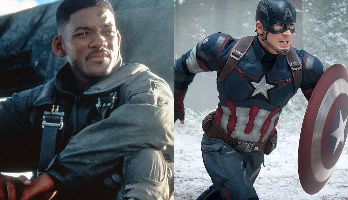 Will Smith como el capitán Steven Hiller en Independence Day y Chris Evans como el Capitán América