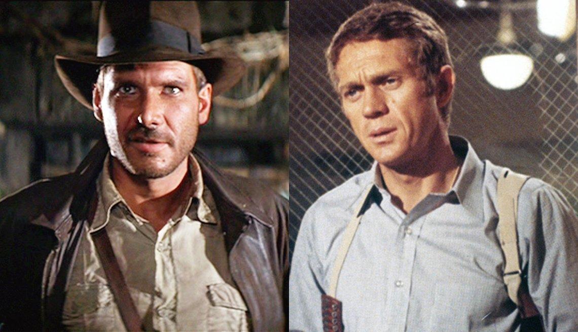 Harrison Ford as Indiana Jones and Steve McQueen as Bullitt