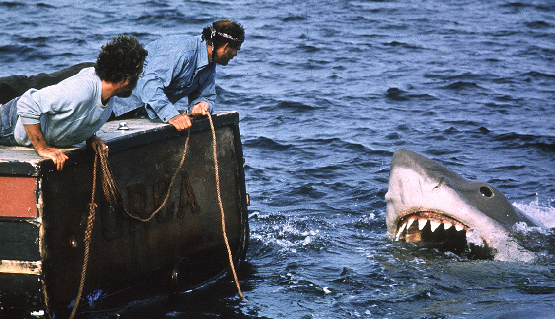Richard Dreyfuss and Robert Shaw in a scene from the film Jaws
