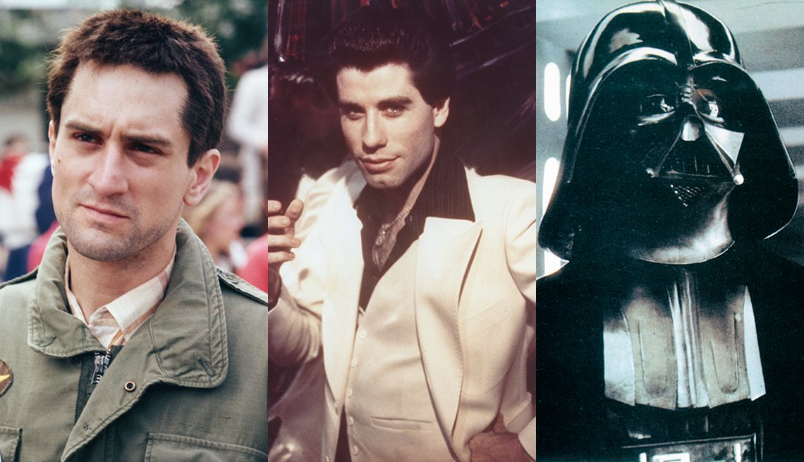 Robert De Niro in Taxi Driver John Travolta in Saturday Night Fever and Darth Vader in Star Wars Episode 4 A New Hope