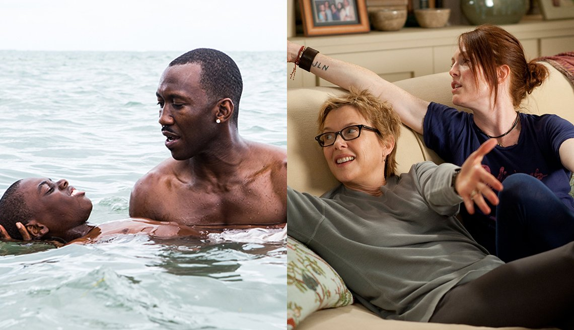 Mahershala Ali y Alex R Hibbert en Moonlight. y Annette Bening y Julianne Moore en The Kids Are All Right