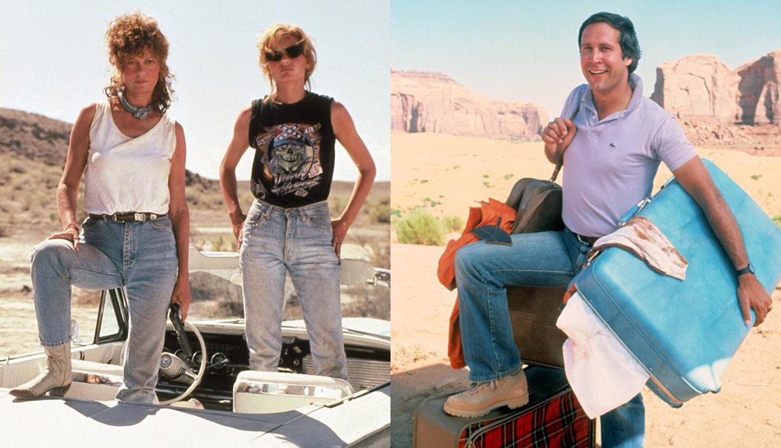 Susan Sarandon y Geena Davis en una escena de Thelma and Louise, y Chevy Chase en una escena de National Lampoons Vacation