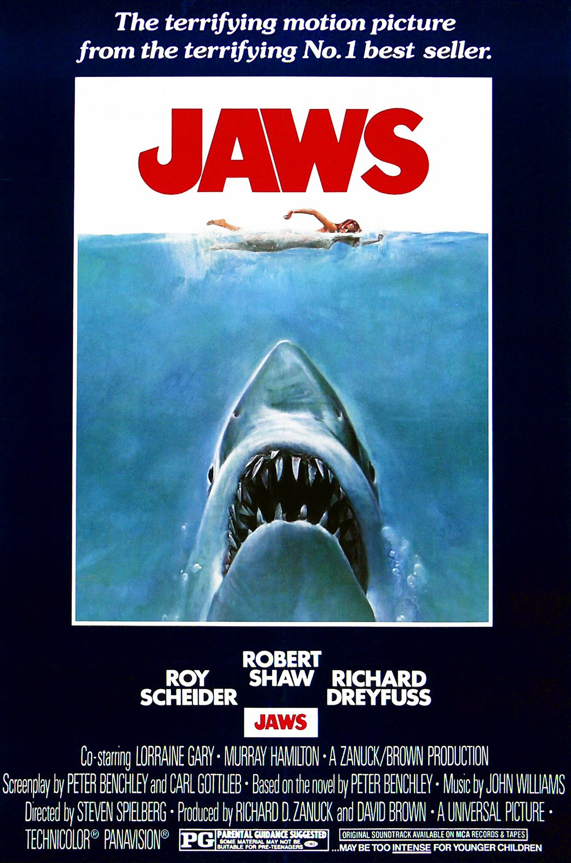 The movie poster for the 1975 film Jaws