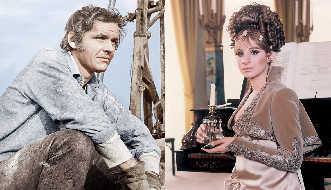 Jack Nicholson in the film Five Easy Pieces and Barbra Streisand in On a Clear Day You Can See Forever