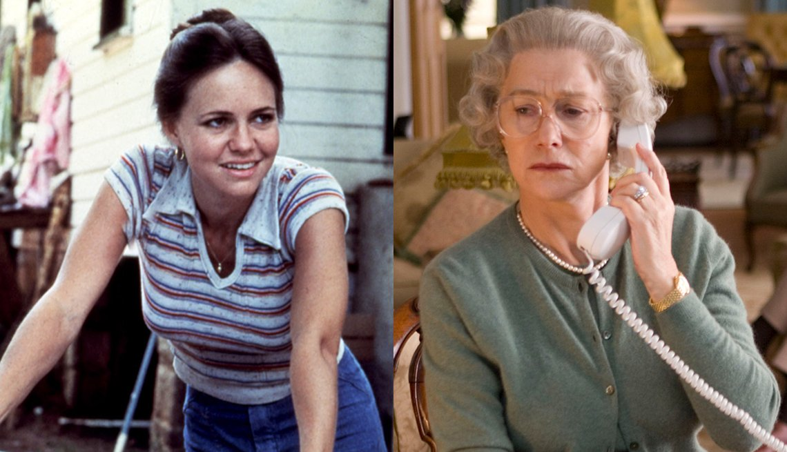 Sally Field en una escena de Norma Rae y Helen Mirren en una escena de The Queen