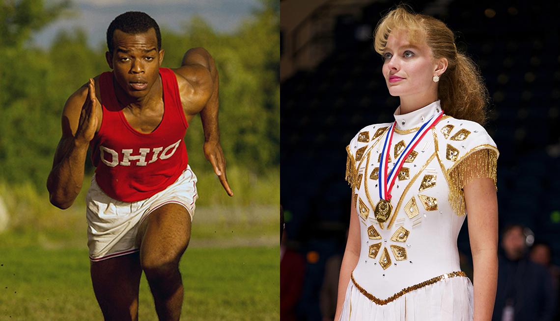 "Stephan James stars as Jesse Owens in the film ""Race"" and Margot Robbie as Tonya Harding in I Tonya"