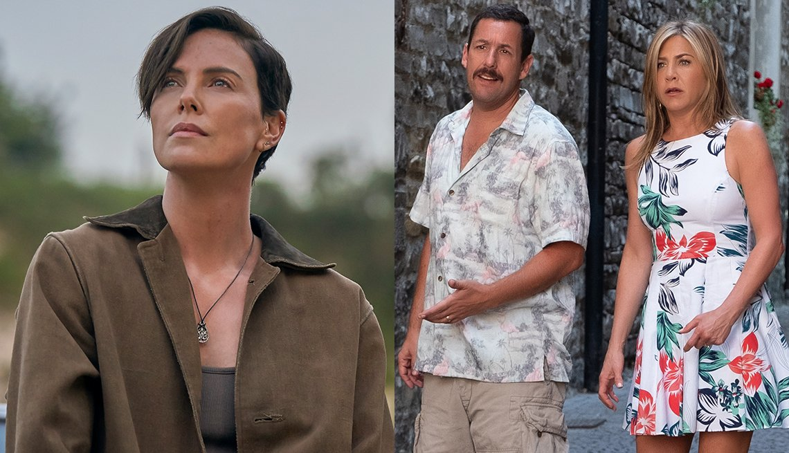 Charlize Theron stars in The Old Guard while Adam Sandler and Jennifer Aniston star in Murder Mystery