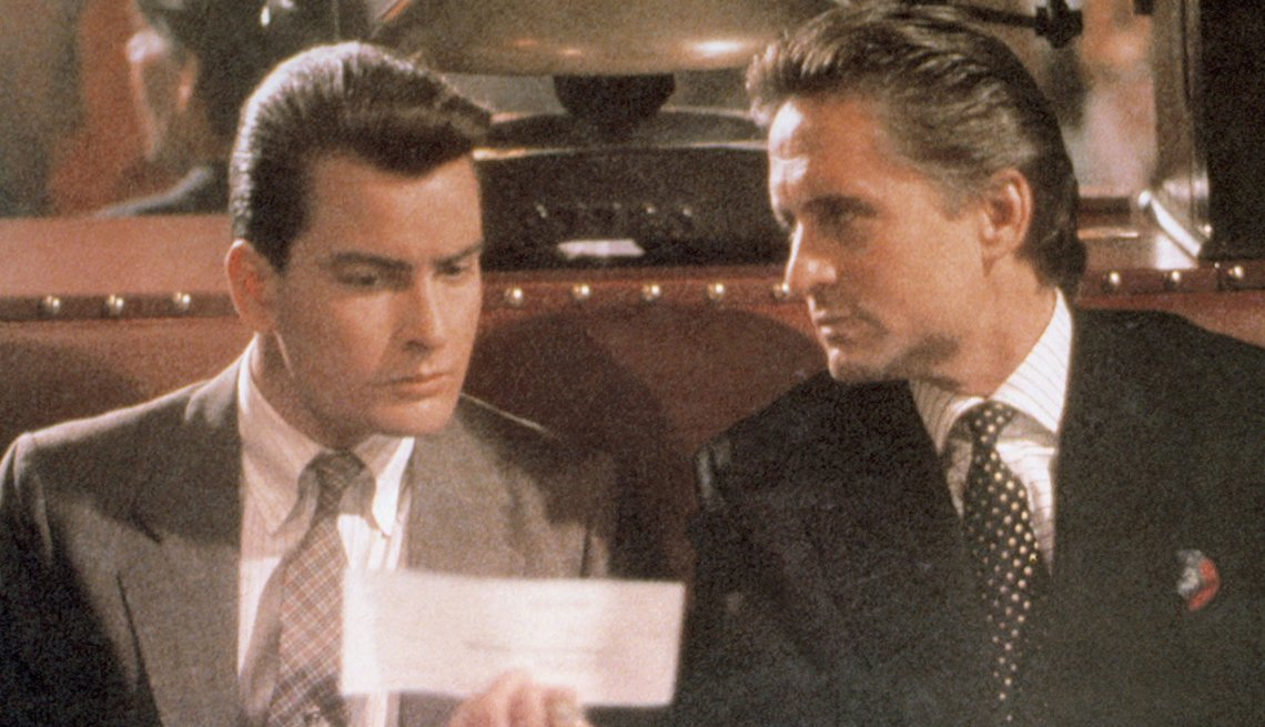 Charlie Sheen and Michael Douglas star in the film Wall Street
