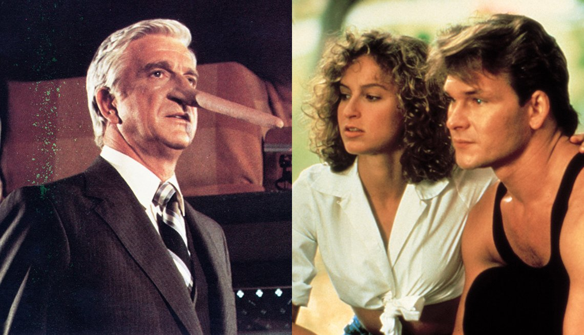 Leslie Nielsen in Airplane and Jennifer Grey and Patrick Swayze in Dirty Dancing