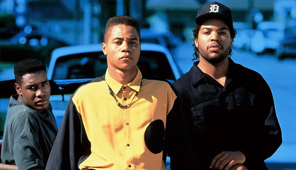Morris Chestnut, Cuba Gooding Junior y Ice Cube en una escena Boyz N the Hood.