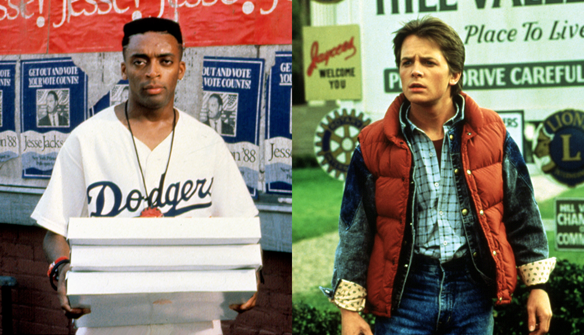 Spike Lee en una escena de Do the Right Thing y Michael J Fox en Back to the Future