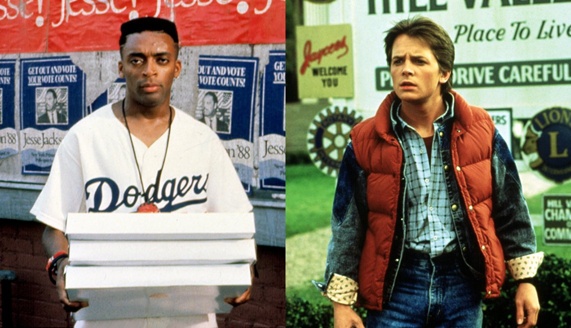Spike Lee in the film Do the Right Thing and Michael J Fox in a scene from Back to the Future