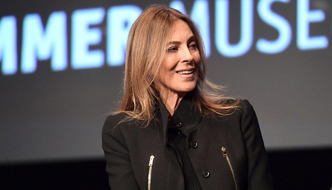 Director Kathryn Bigelow speaking onstage