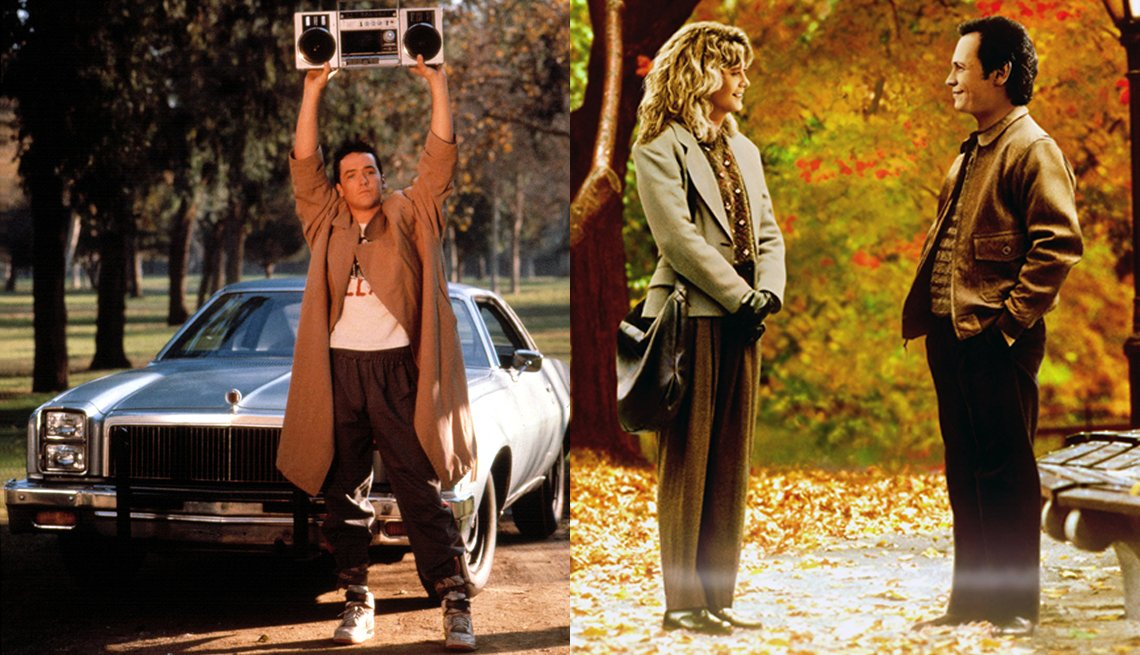 John Cusack (izquierda) en 'Say Anything', y Meg Ryan y Billy Crystal en 'When Harry Met Sally'.