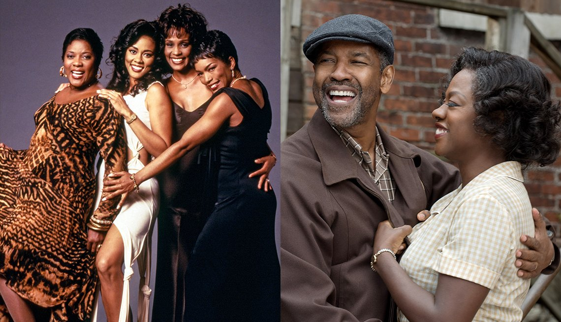 Loretta Devine Lela Rochon Whitney Houston and Angela Bassett star in Waiting to Exhale and Denzel Washington and Viola Davis in the film Fences