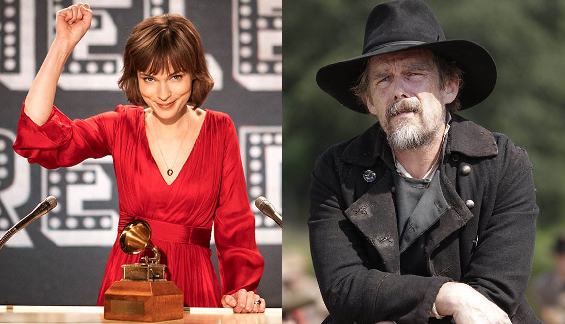 Tilda Cobham Hervey como Helen Reddy en I Am Woman, y Ethan Hawke como John Brown en The Good Lord Bird
