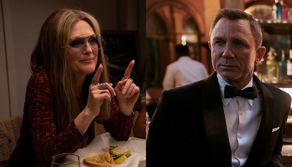 Julianne Moore en una escena de The Glorias y Daniel Craig como James Bond en No Time to Die