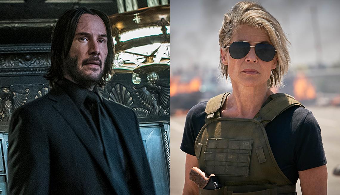 Keanu Reeves as John Wick in John Wick: Chapter 3 — Parabellum and Linda Hamilton as Sarah Connor in Terminator: Dark Fate