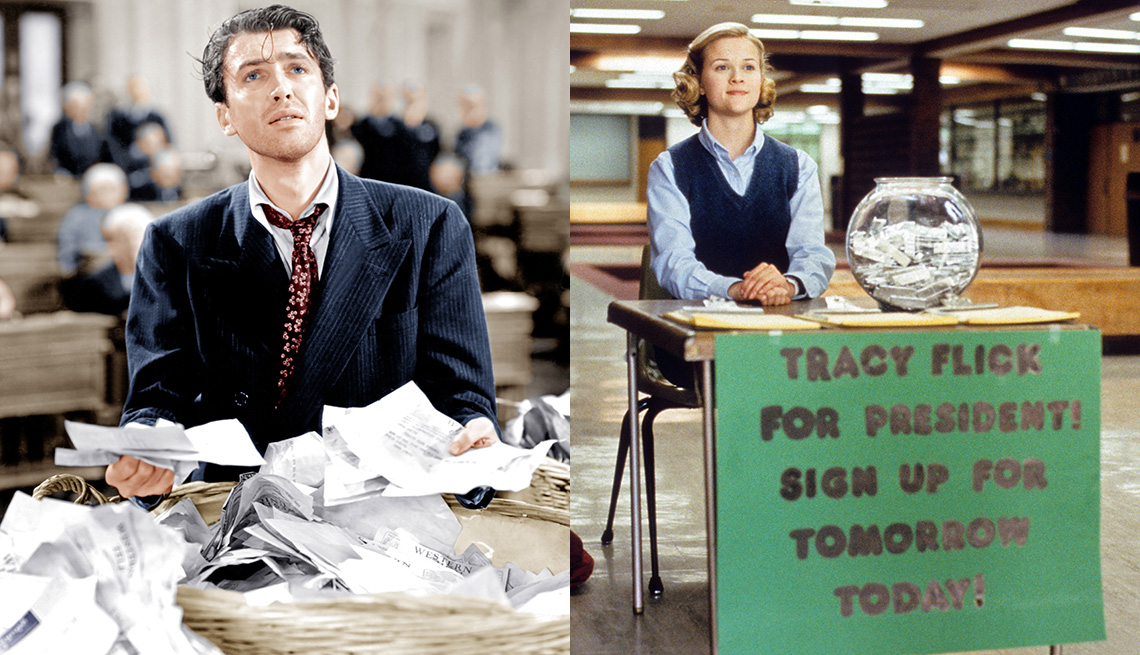 Side by side images of James Stewart in a scene from Mr. Smith Goes to Washington and Reese Witherspoon in the film Election