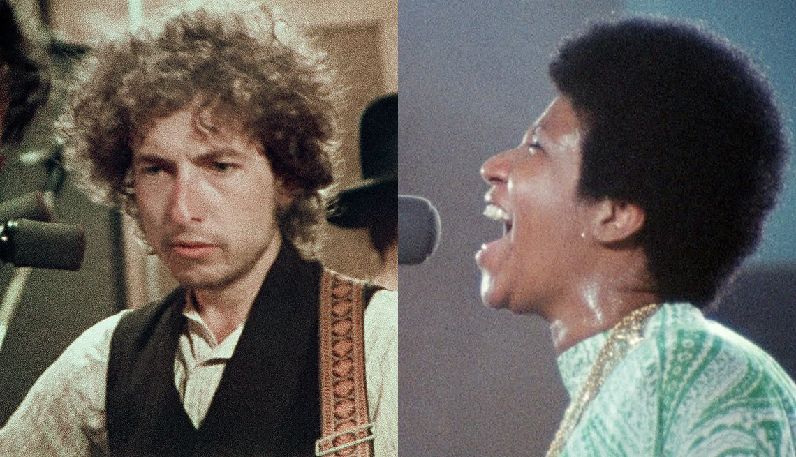 Bob Dylan in Rolling Thunder Revue: A Bob Dylan Story by Martin Scorsese and Aretha Franklin in Amazing Grace