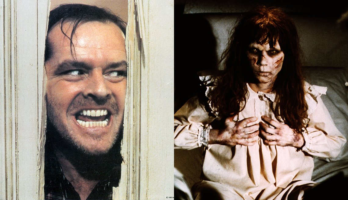 Jack Nicholson stars in the film The Shining and Linda Blair stars in The Exorcist