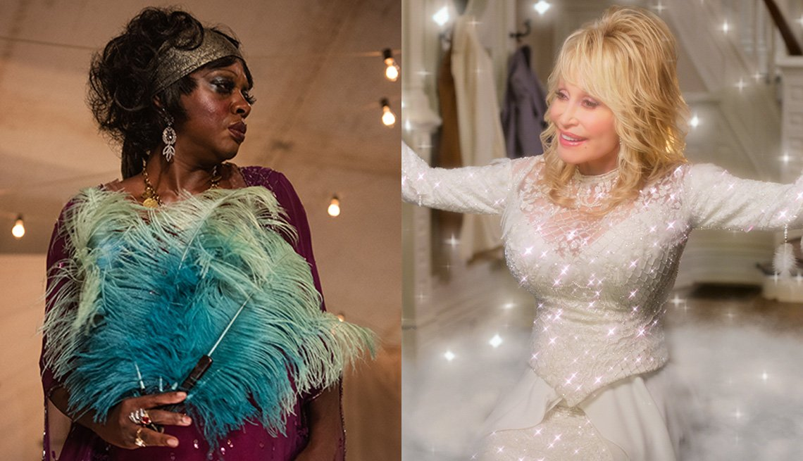 Viola Davis stars in the film Ma Rainey's Black Bottom and Dolly Parton stars in Dolly Parton's Christmas on the Square